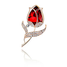 Gold Red Tulip Flower Distinctive Women Elegant Coat Brooch Pin Corsage BR427