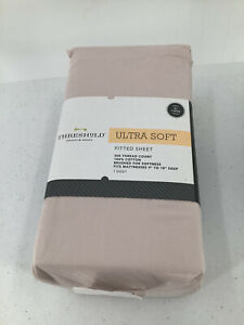 Threshold Ultra Soft pink petal XL/Twin Fitted Sheet 300 Thread Count 100 Cotton