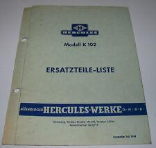 Ersatzteilliste Hercules Modell K 102 ET Liste Ersatzteilkatalog Stand Juli 1961