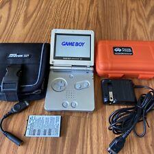 Nintendo Gameboy Advance SILVER GBA SP IPS v2 LCD Mod 5 level brightness EXTRAS