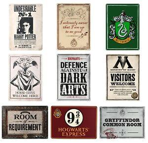 Genuine Warner Bros Harry Potter Small A5 Steel Sign Tin Wall Door Plaque Art