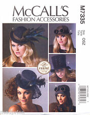 MCCALL'S SEWING PATTERN 7335 STEAMPUNK MILLINERY BOWLER TOP HAT AVIATOR COSPLAY