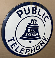 Vintage BELL SYSTEM Public Telephone PORCELAIN SIgn USA PAY PHONE AT&T Free Ship