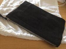 New Black Suede Leather Clutch Bag, Purse, Silver Zip Trims