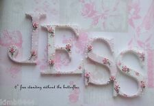 """Shabby Chic 6"""" Personalised Freestanding Wooden Letters Baby per Letter"""
