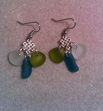 BWT- Beach Sea Glass Pebble Earrings Ln1990, Surgical Steel, Chandelier