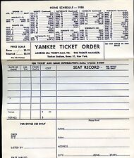 1958 & 1959 New York Yankees Baseball Ticket Order Forms