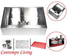 "30"" Stainless Steel Flat  Apron Kitchen Farm Sink Combo"