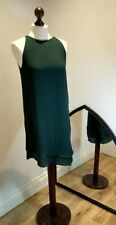 H&M Green Dress Chain neckline layered hem Autumn Colour Christmas Party size 10