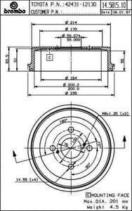Brake Drum-Premium OE Equivalent Rear Brembo 14.5815.10
