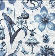 Lot de 4 Serviettes en papier Bleu Objets variés Decoupage Collage Decopatch