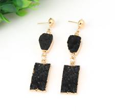 Natural Black & Gold Druzy Stone Drop Earrings Rectangle Rock Dangle Boho