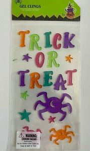 NEW HALLOWEEN TRICK OR TREAT 20 pc Window Gel Clings Decor Spiders Monsters Star