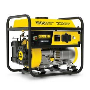 Champion Power Portable Generator Gasoline Powered Recoil Start 1500/1200-Watt