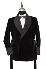 Men Black Smoking Jacket Quilted lapel Belted Designer Party Wear Blazers Coats