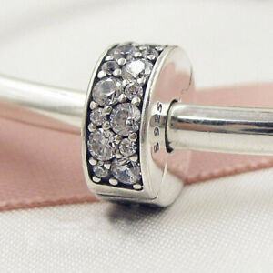 Authentic 100% 925 Sterling Silver Shining Elegance Spacer Clip CZ Charm