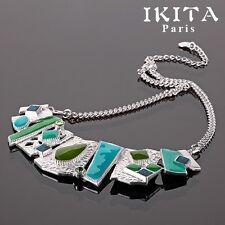 Luxus Kette Halskette Statement-Kette Collier Emaille Versilbert IKITA Paris
