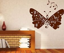 Wall Vinyl Sticker musical notes signs butterfly wings song (n538)
