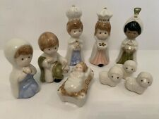 Vintage Christmas Come Let Us Adore Him Porcelain Miniatures Nativity Set 9 Pc