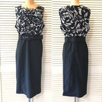 Ashley Stewart Womens Dress size 12 Black Sleeveless Midi Professional Office