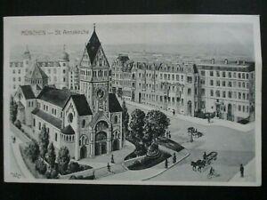 Postkarte München St. Anna Kirche Lehel um 1900