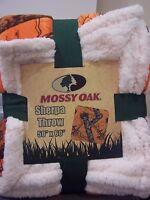 Mossy Oak Sherpa Break Up Orange Camo Camouflage Reversible Throw Blanket 50x60