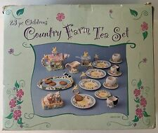 23 Piece Childrens' Country Farm Ceramic Tea Set Original Box Cows Sheep Ducks