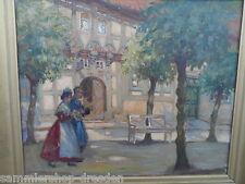 19011 Auf der Promenade Rudolf POESCHMANN 1878-1954 Dresden, 60x50 cm Ölgemälde