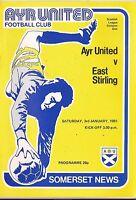 Football Programme - Ayr Utd v East Stirling - Div 1 - 1981