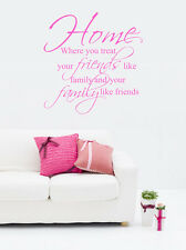 Home Friends Family Vinyl Wall Stickers Quotes Art Mural Decal Bedroom Decoratio
