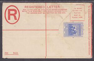 Barbados H&G C10 mint. 1902 2p blue SPECIMEN Registered Envelope, bit soiled