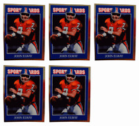 (5) 1992 Sports Cards #40 John Elway Football Card Lot Denver Broncos