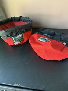 Set 2 Sierra Dog Supply Travel Food Water Bowl Collapsible Canvas Portable Red