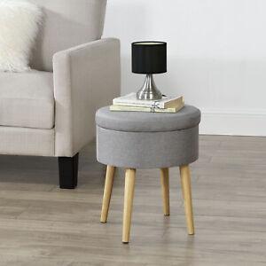 [en.casa] Beistelltisch Hocker Tisch-Hocker Sitzhocker Lampentisch Stauraum Grau