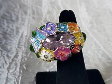 """""""Textured Flowers"""" Double Ring by AVON ~ Size Medium 7-8 ~ NEW in Box"""