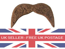 Brown Tash/Moustache Wild West Mexican Ron Burgundy Basil Fawlty Fancy Dress