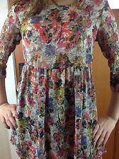 H.I.P Happening In the Present Floral Sheer Blouse Babydoll Dress Top USA XS