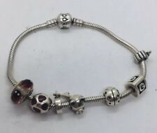 Pandora Authentic Sterling Silver Enamel 7 Charm Bracelet