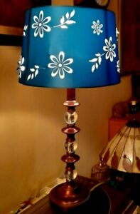 Lovely Wood & Acrylic Table Lamp With Turquoise Shade  VGC