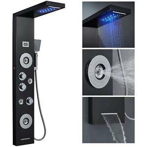 Black Shower Panel Tower System Shower Faucet LED Rain Head Massage Jets Sprayer