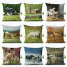 """18""""Farm Scenery Couch Cushion Cover Animal Cow Horse Pillow Case Home Decoration"""
