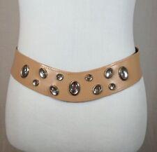"Vintage 80s Womens Tan Leather Retro Rhinestone Cinch Fashion Belt Size 32"" Boho"