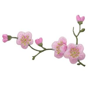 """Cherry Blossom Applique Patch - Branch , Flower, Tree Badge 3-1/8"""" (Iron on)"""