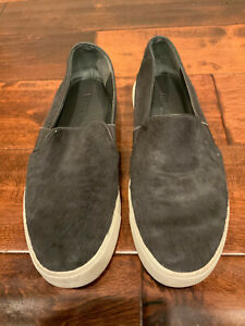 Vince Gray Furry Slip-On Shoes Sneakers W/ White Rubber Soles, Size 7 (US)