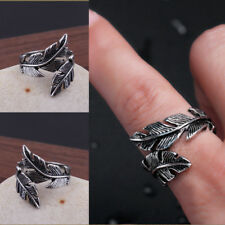 Feather Ring Men Woman Silver Antique Stainless Steel Band Jewelry Gift C