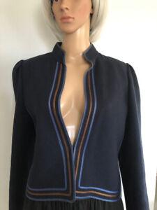 Vintage Louis Feraud Paris JACKET 40 12 French Navy Blue Wool ribbon trim