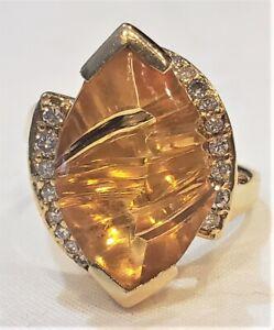 14K Gold 3.5 Ct Citrine Ring Cabochon Fancy Cut Back Diamond Accents B&H 7.9gr