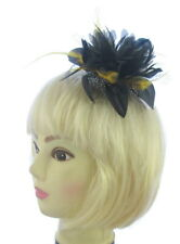 Black and yellow gold Hair Fascinator on comb Wedding Royal Ascot Races