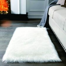 Rectangle Luxury Faux Fur Sheepskin Area Rugs, Indoor Soft Fluffy Bedroom Bedsid