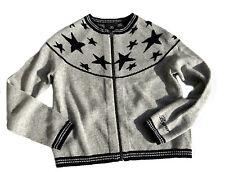 BOGNER Strickjacke Cardigan grau Sterne Wollgemisch mit Kaschmir 128-134 NEU